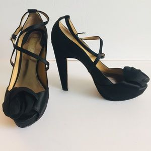 BADGLEY MISCHKA Rose Black Satin Strappy Stilettos